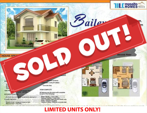 Masaito Homes Trece Bailey Model - Pag-ibig Rent to Own Houses for Sale in Trece Martires Cavite