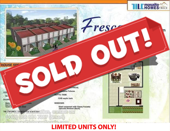 Masaito Homes Trece Fresca Model - Pag-ibig Rent to Own Houses for Sale in Trece Martires Cavite